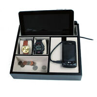 Mens Black Wooden Valet Jewelry Box Cell / Tablet Charging Station