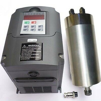 AIR-COOLED 65MM 1.5KW ER11 COLLET SPINDLE MOTOR AND MATCHING INVERTER VFD CNC