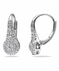 Sterling Silver 1/4ct TDW Diamond Dangle Earrings (H-I, I3) by Amour