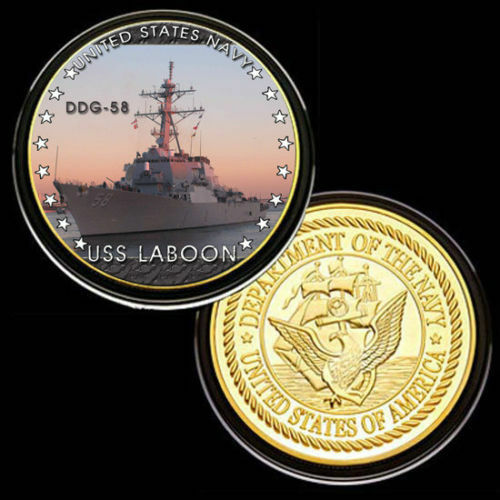 U.S United States NavyUSS Laboon DDG-58Gold Plated Challenge Coin