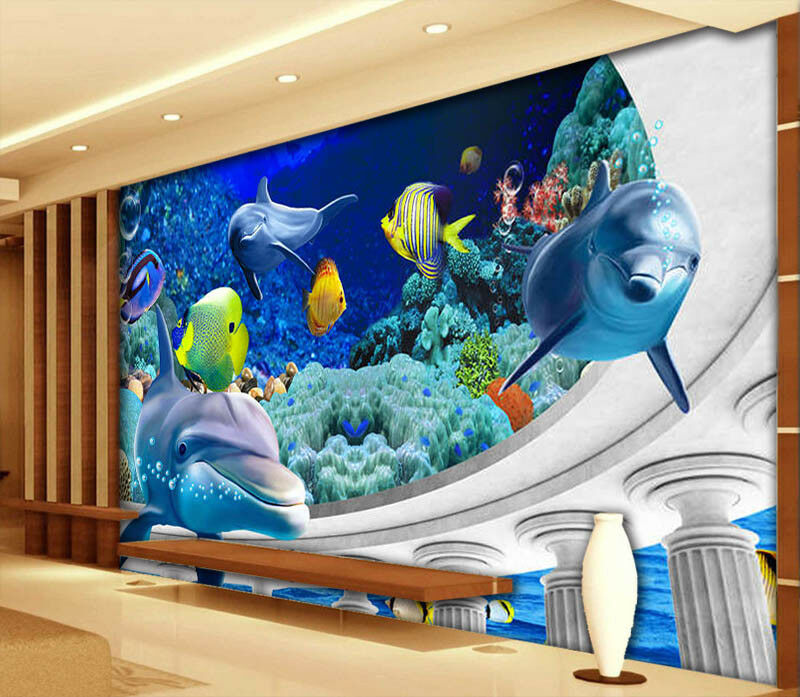 Funny Sea World 3D Full Wall Mural Photo Wallpaper Printing Home Kids Decoration
