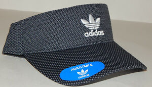 4081ed9be4c20 Adidas Mens Originals Visor Hat Cap NEW Trefoil Strapback Black Grey ...