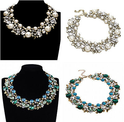 New Design Women Gorgeous Bib Statement Crystal Pearl Beads Choker Necklace