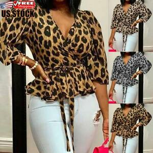 Women-039-s-Leopard-Print-V-Neck-Tops-Ladies-Long-Sleeve-Loose-Casual-Blouse-T-Shirt