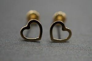d633a7ae4 14K Solid Yellow Gold 5MM Tiny Plain Polished Open Heart Screw Back ...