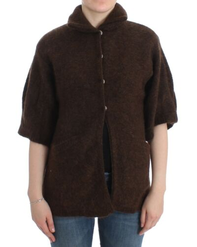 NWT CLASS ROBERTO CAVALLI Brown Mohair Cardigan Knit Sweater Wool IT40US6
