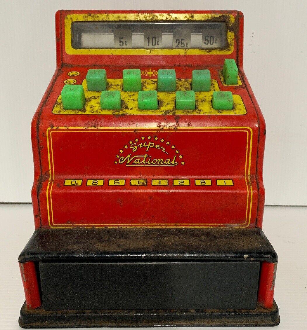 Super National Cash Register Vintage Tin Toy 1970's
