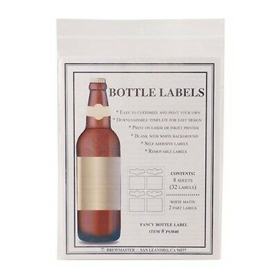 image relating to Printable Beer Bottle Labels titled Blank Beer Bottle Labels 32 pack Drinking water Resistant Vinyl For InkJet Or Laser Print eBay
