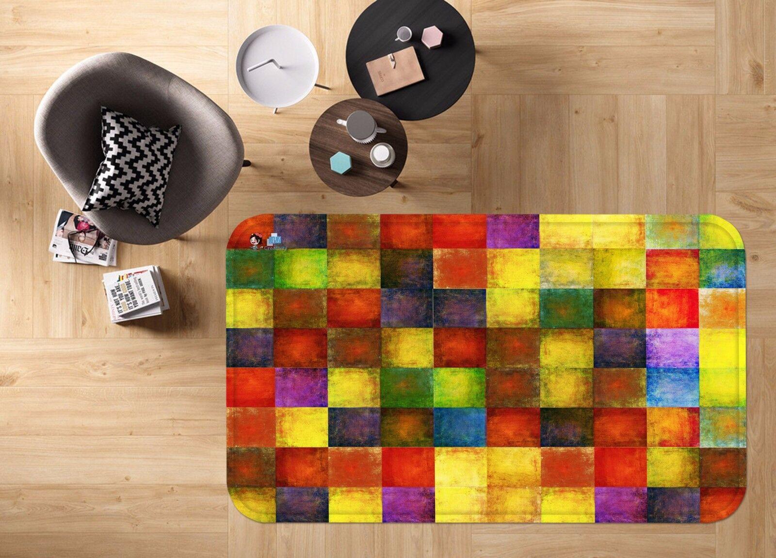 3D Grid Coloree 4 Non Slip Rug Mat Room Mat Quality Elegant Photo Carpet AU Summer