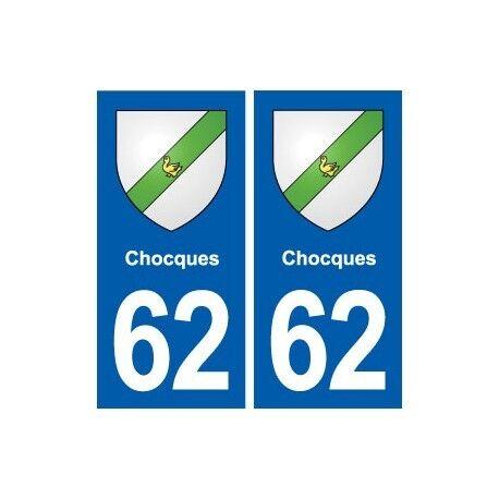 62 Chocques blason autocollant plaque stickers ville droits