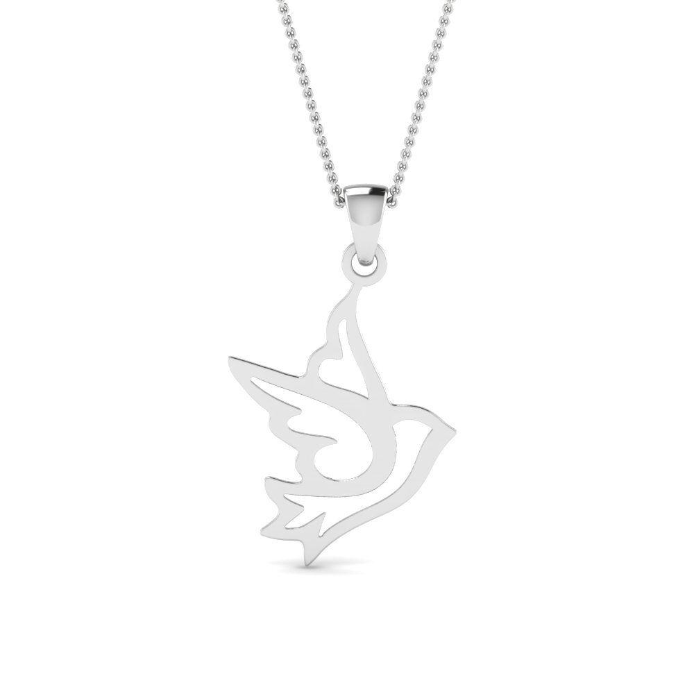 Flying Bird Pendant Freedom Independent Women Gift 14k Whitegold Finish NO CHAIN