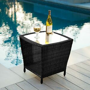 outdoor patio furniture elegant black wicker side table w glass top ebay. Black Bedroom Furniture Sets. Home Design Ideas