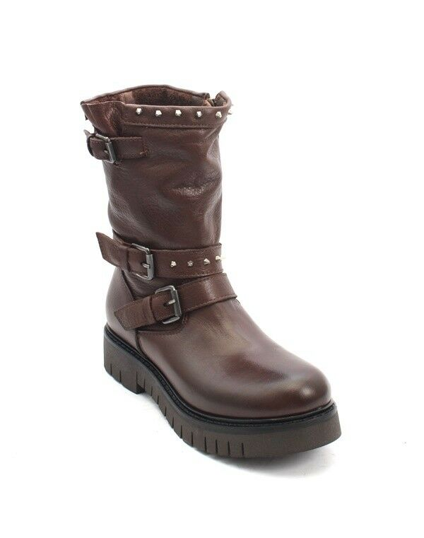 Mally 5978a 5978a 5978a Brown Leather Zip-Up Struppy Studded Mid-Calf Boots 39   US 9 223ab5