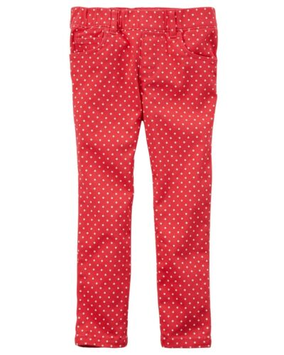 Red with White Dots NWT Carter/'s Toddler Girls/' Pull-On Polka Dot Twill Pants