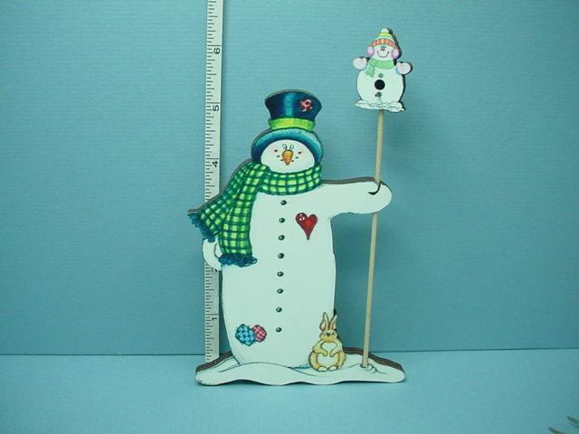 Miniature Snowman Yard Art wi Bird House Laser Creations 1 12th Scale