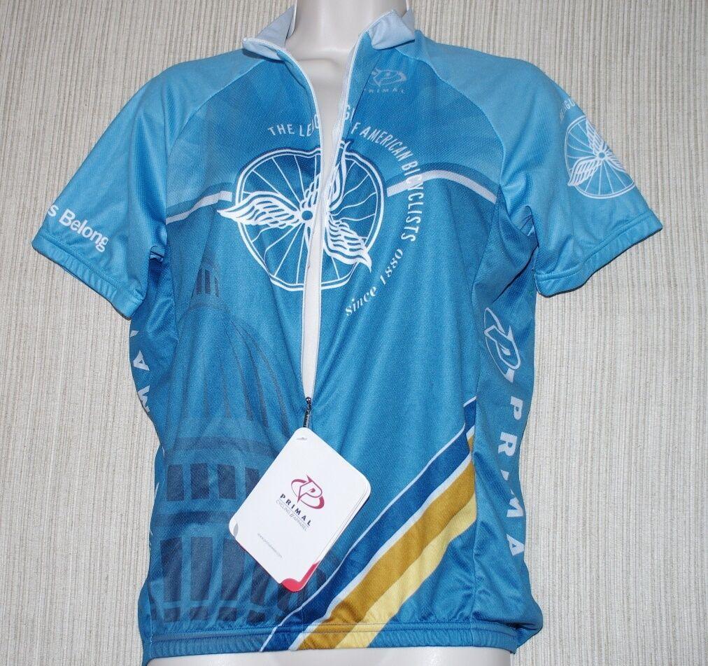 NWT PRIMAL WEAR ciclismo blu SHORT SLEEVE ZIP UP RAGLAN JERSEY SHIRT uomini Diuominiione S