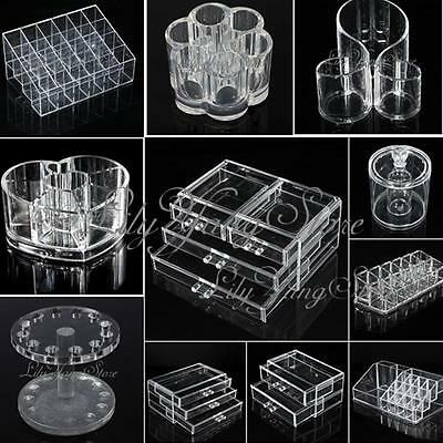 Acrylic Cosmetic Makeup Case Brush Lip Holder Organizer Drawer Stand Storage