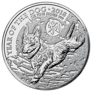 2018 Great Britain Year of the Dog 1 oz Silver Lunar £2 Coin BU In Caps SKU49502