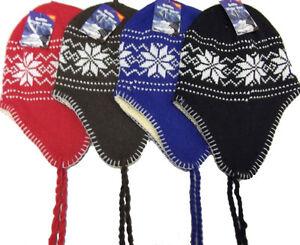 Unisex-Beanie-Hat-Knit-Ski-Snow-Earflap-Warm-Hat-4-Colors