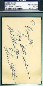 Leon Hart Psa Dna Coa Autograph 3x5 Index Card Hand Signed Authentic