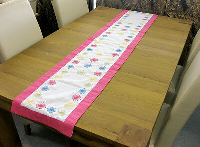"Excellent Quality PINK & WHITE Cotton Embroidered Table Runner 14"" x 72"""