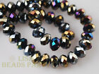 500pcs 3x4mm Faceted Rondelle Crystal Glass Loose Spacer Beads Black AB Crafts