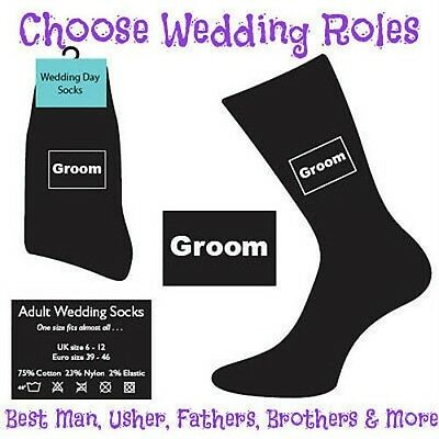 BLACK WEDDING DAY SOCKS FOR MEN GROOM, BEST MAN ETC MA1