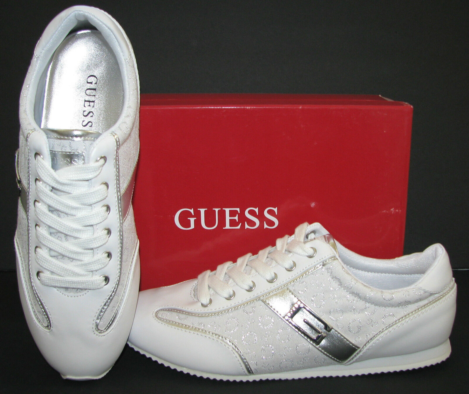 NEW-GUESS DANICE FABRIC/LEATHERETTE+SILVER+CRYSTALS WEISS FABRIC/LEATHERETTE+SILVER+CRYSTALS DANICE SPORT Schuhe SIZES:6-9 864066
