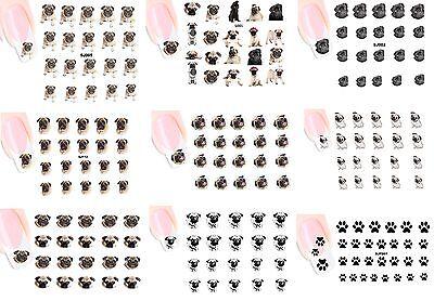 MOPS PUG NAGEL Stickers XXL NAIL STICKERS DECALS 9x Blatt 9 sheet CXXL1