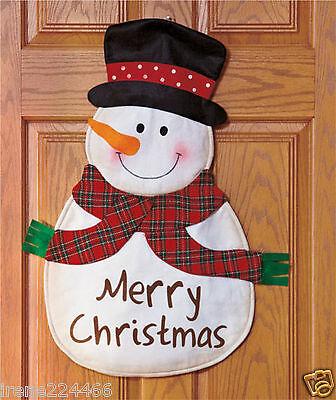 Snowman Merry Christmas Door Hanger Wall Hanging Décor w/bell 30x22 NIP