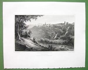 ITALY Tivoli from Villa of Quintilius Varus - 1820 Antique Print by Miss BATTY