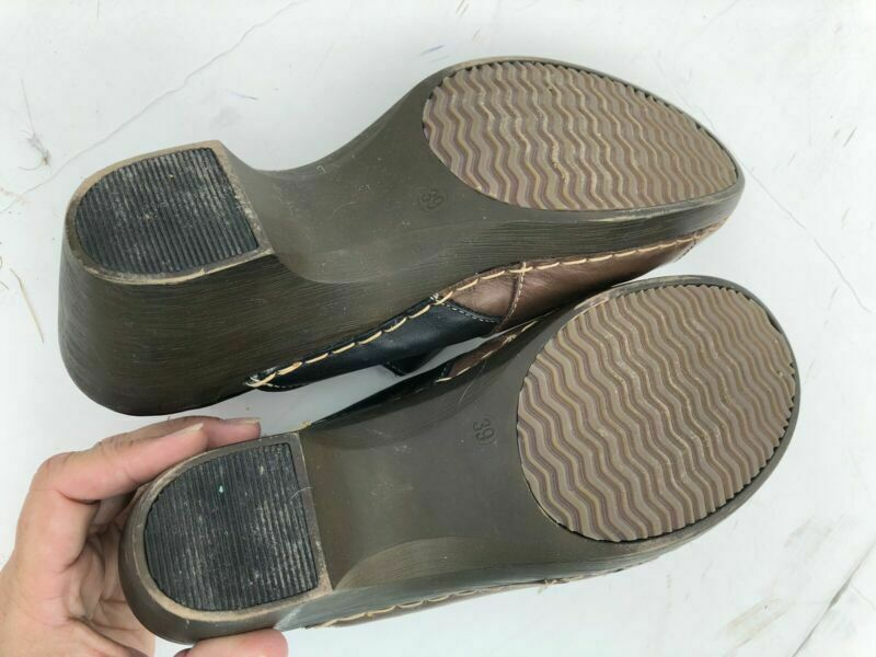 Womens Tan & Black Shoes Slip On Mules Spring Step Size 39 - Bf58