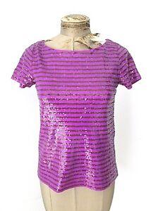 bb29cd67 VGC J Crew Sparkly Purple Sequin Stripe Scoop Neck T-Shirt Tee Shirt ...