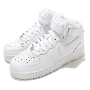 Nike-Air-Force-1-Mid-GS-Triple-White-Kid-Women-Casual-Shoes-Sneakers-314195-113