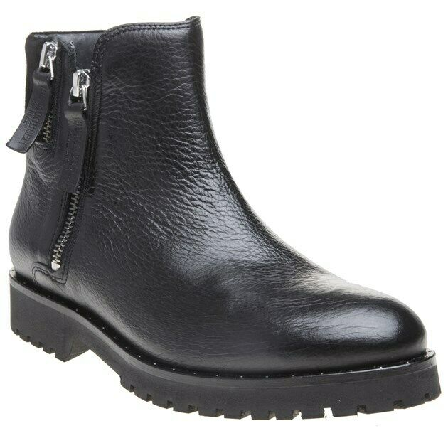 New WOMENS ILSE JACOBSEN BLACK ALENA ZIP LEATHER BOOTS ANKLE