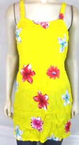 Bali-Girl-Yellow-Red-Floral-Beach-dress-Cover-Tunic-Top-Women-039-s-Medium-Large