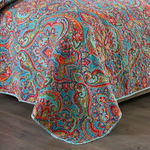 BEAUTIFUL CHIC TROPICAL BLUE RED ORANGE TEAL AQUA SOUTHWEST BOHEMIAN QUILT SET