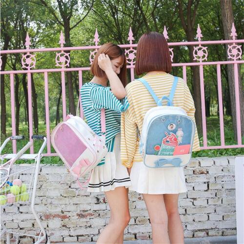 6 Color PU CLEAR ita bag Transparent itabag Pin Display Backpack Kid school bags