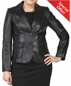 Women's Blazer Fit Slim Designer Coat Lambskin Jacket Genuine Leather zry7z1q