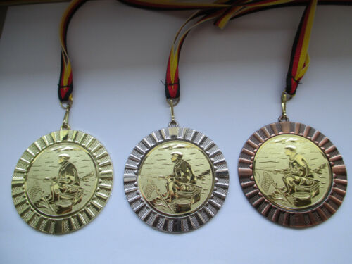 Angeln Angler Kinder Medaillen 70mm 3er Set Deutschland-Bändern Pokal Turnier