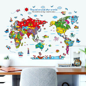 Colorful animal world map wall sticker living room office cartoon image is loading colorful animal world map wall sticker living room gumiabroncs Image collections