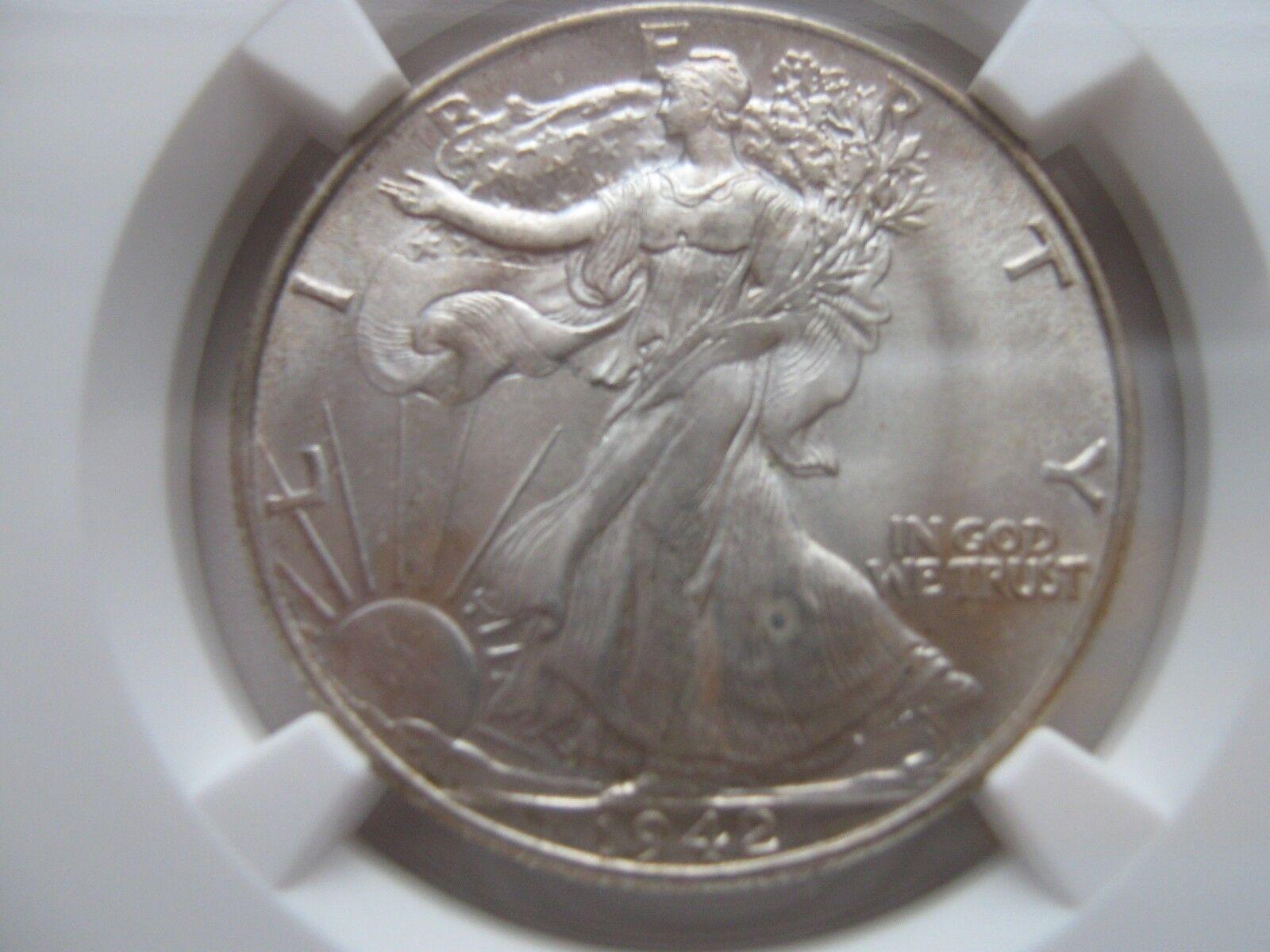 1942 , Walking Liberty Half Dollar , NGC , MS 66+ (MS 6