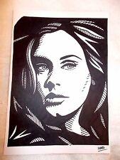 A4 Black Ink Marker Pen Sketch Drawing Musician Adele Laurie Blue Adkins B