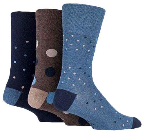 3 Pairs Mens Navy Denim Blue Brown Spotted Cotton Gentle Grip Socks Size 6-11