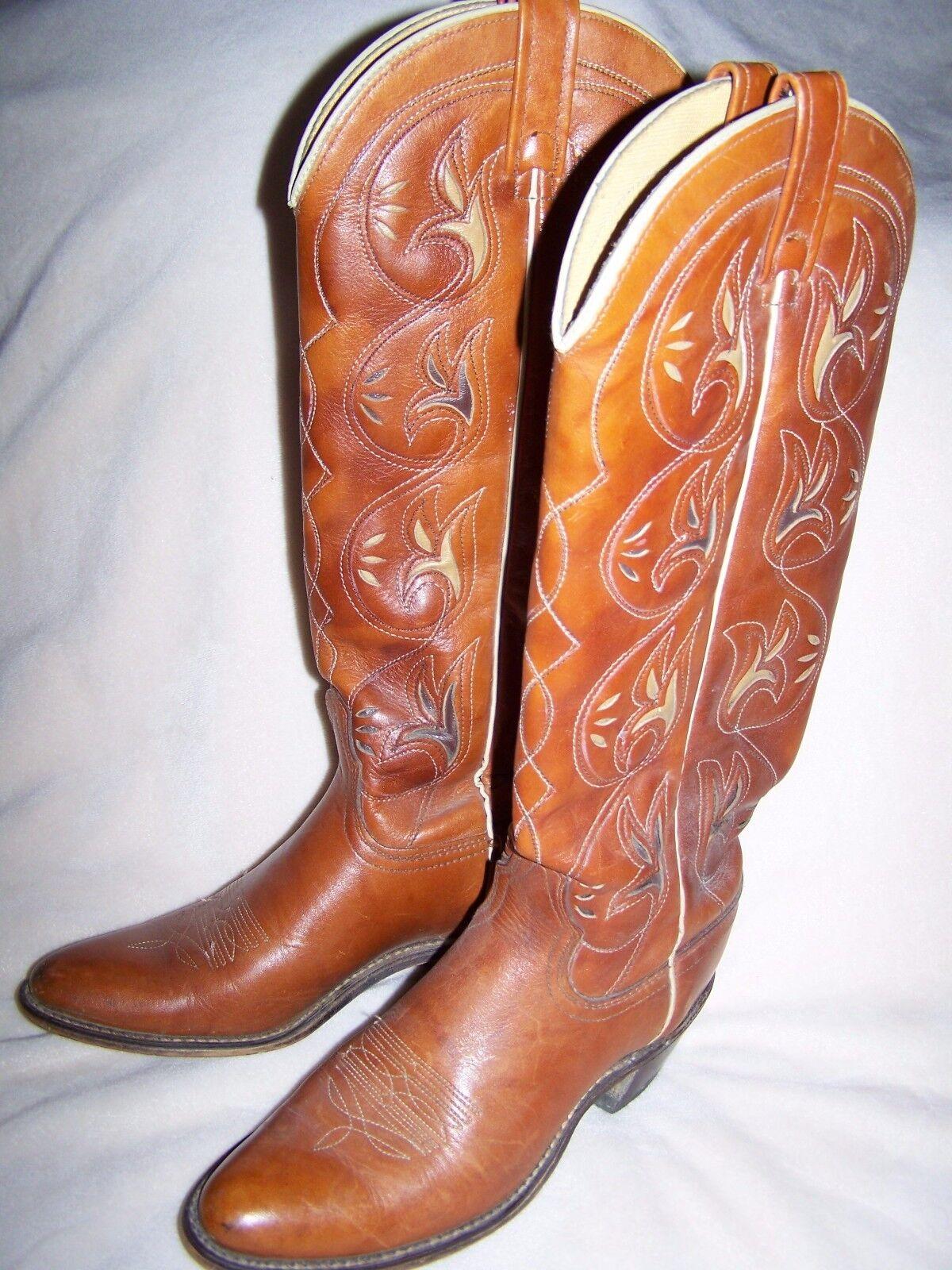 Vintage Damenschuhe ACME Inlay Tall Cowboy Stiefel 2
