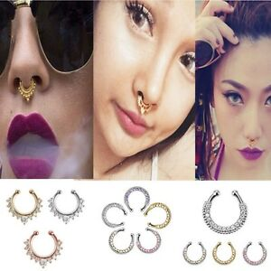 Fashion-1X-Fake-Clip-On-Non-Piercing-Crystal-Septum-Nose-Ring-Faux-Clicker-BR