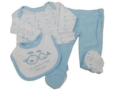 Premature Baby boy Blue Whale 3 Piece Set top Trousers bib 3-8lbs