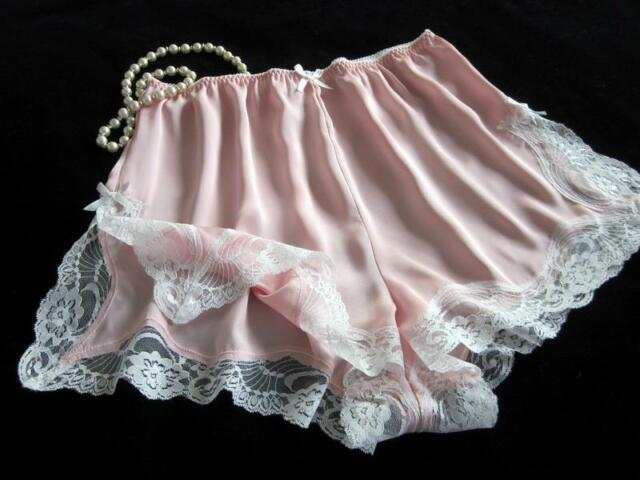 38bf746d5b26 French Knickers Lacy Pink Satin Panties All Sizes Silky Drapey Vintage  Style NEW