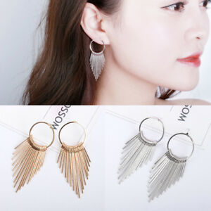 Fashion-Women-Gold-Silver-Long-Tassel-Ear-Stud-Drop-Dangle-Earrings-Jewelry