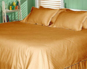 Gold Striped 1000 TC Egyptian Cotton Bed Sheets Collecction Select Size